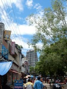 Der erste Blick auf den Tempel in Madurai