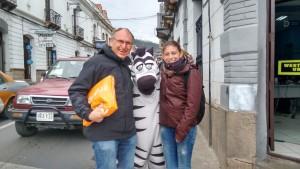 Mit Franz-Peter und einem Zebra.